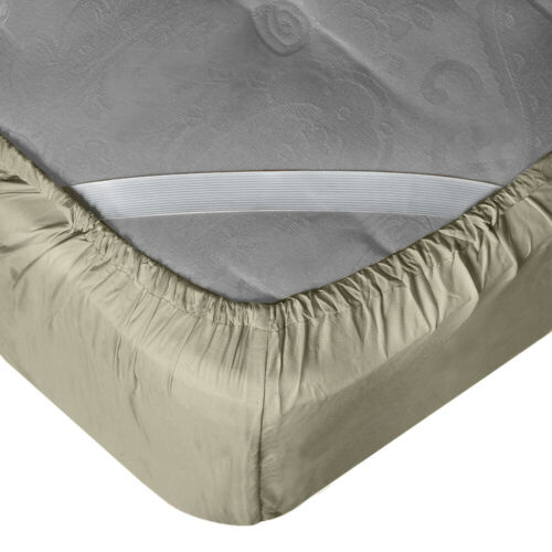 "21"" Extra Deep Pocket Ultra Soft Fitted Sheet with Corner Straps King Sage"