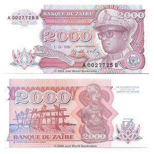 Zaire-2000-Zaires-1991-P-36-Banknotes-UNC