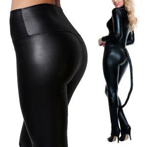 dbdd7a63224eb Image is loading Ladies-High-Waist-Black-Faux-Leather-Leggings-Wet-