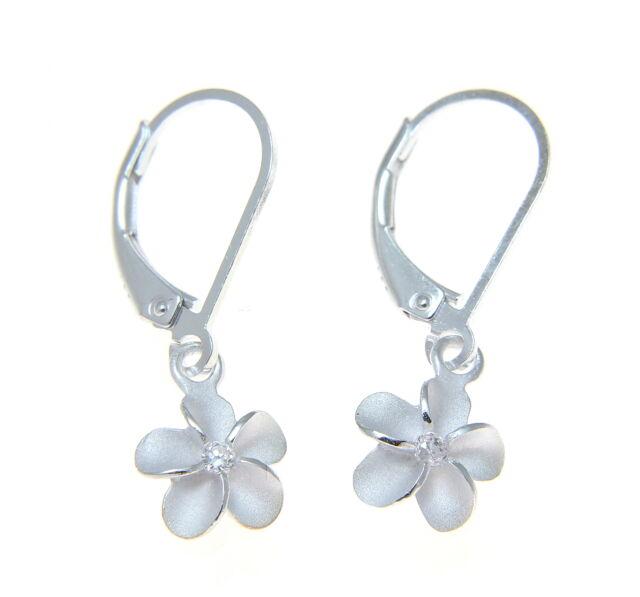 Hawaiian Jewelry 925 Sterling Silver 3 Plumeria Flower Earring Stud Dangling CZ Stone