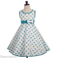 Trimmed Polka Dot Girl Party Holiday Summer Dress Multi-Colour Age 4-8 Year #016