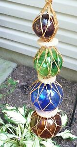 Vintage Set of 4 Glass Hanging Fishing Floats with Cork & Netting~Multi Color