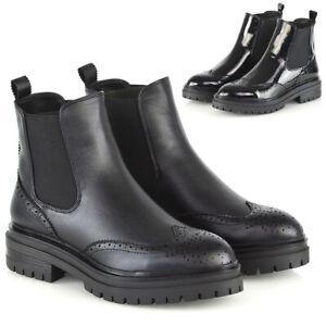 Nuevo-Para-mujeres-Botas-al-Tobillo-Chelsea-Brogue-Tire-De-Damas-Moda-Zapatos-Informales-Talla