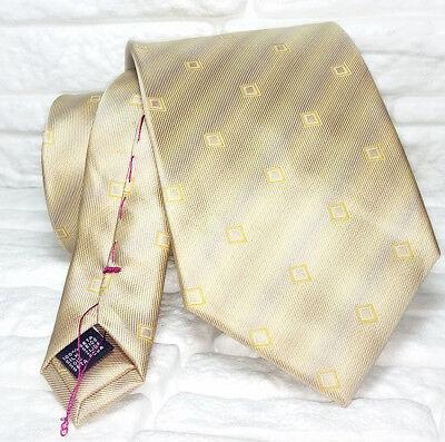 Cravatta Seta Geometrica Beige E Oro Cuciture Rosse Made In Italy