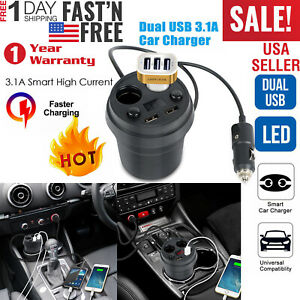 Dual-USB-Charging-Cup-Holder-Car-Charger-Mount-2-Cigarette-Lighter-Socket-Stand