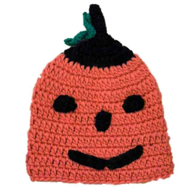 61394ffc2efe9 Womens Chunky Knit Pumpkin Beanie Orange   Black Jackolantern Halloween Hat