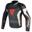 Leather Jacket Dainese Assen Black/White/Lava-Red