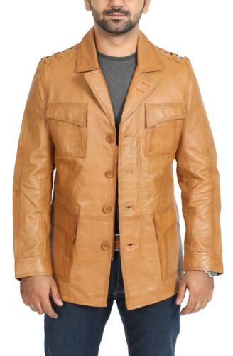 Mens Blazer Reefer TAN Leather Jacket Modern Fitted Safari Buttoned Hunters Coat
