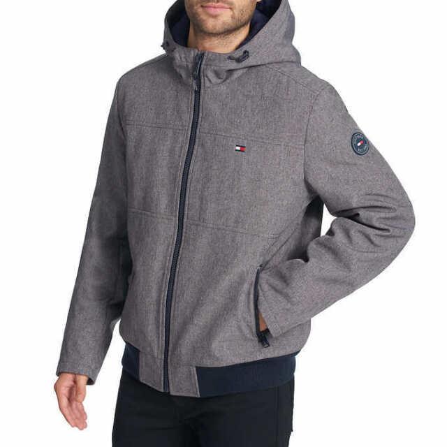 b5dc560a6a835 NWT Tommy Hilfiger Softshell Bomber Jacket Men s Size XL Heather Grey Hood  NEW