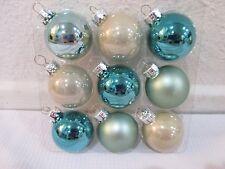 "Coastal Collection Christmas MINI Glass Ball Aqua Ornaments 1.5"" Set of 9"