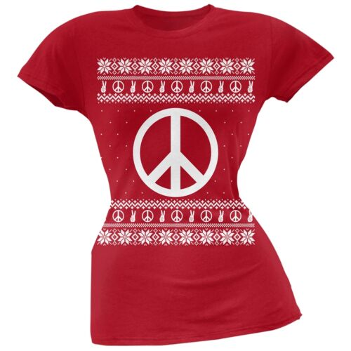 Peace Sign Ugly Christmas Sweater Red Soft Juniors T-Shirt