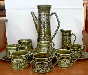 Vintage Ellgreave Saxony Green Coffee Pot Milk Jug Sugar Bowl 6 Cups & 6 Saucers
