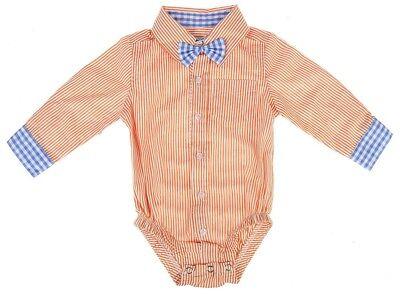 Ganz E9 Baby Boy Cotone, Manica Lunga Pannolino Camicia Con Fiocco 0-6m Ea11842