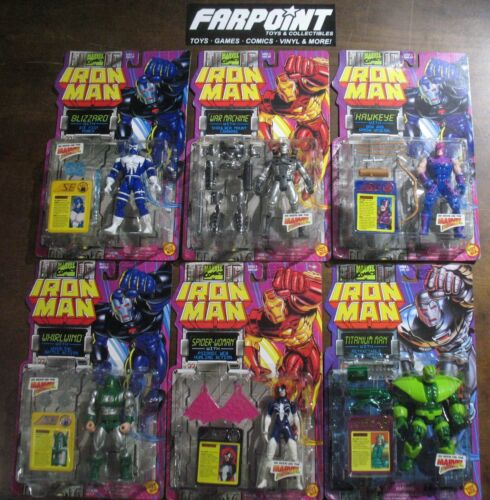 Lot de 6 Comme neuf on Card New Marvel Iron Man War Machine Titane Homme Whirlwind TOYBIZ