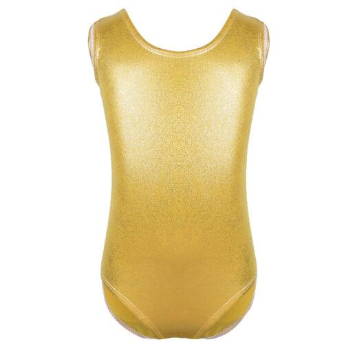 2-12Y Shiny Ballet Dance Gymnastics Leotards Athletic Tank Suit For Kids Girls