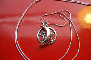Moon-amp-Pentacle-Pentagram-Charm-on-a-30-034-Sterling-Silver-Snake-Chain-Necklace
