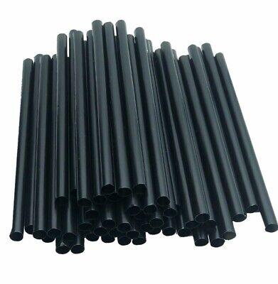 Trinkhalme aus Papier einfarbig schwarz 13 cm x 8 mm 100x Cocktail