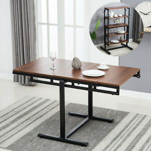 Details about 2in1 Folding Wooden Dining Table 5-Tier Bookcase Shelf  Kitchen Room Home Office