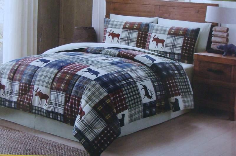 Remington Bear Moose Elk Plaid 8P FULL Dimensione Lodge Comforter Set