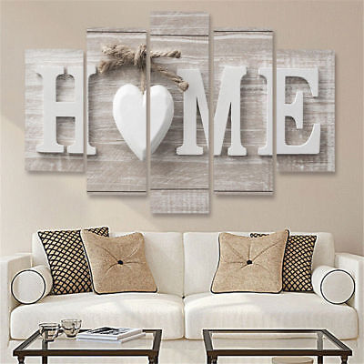 Home Letters 5 Pieces Canvas Wall Art