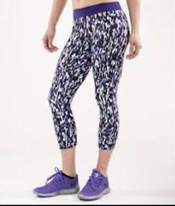 dce29617ee29d8 Details about Nike Printed Relay Tight Capris XS Crops Pants Legging Purple  White Aqua