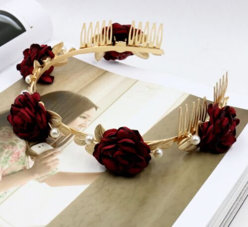 Flower Gold HeadWreath Comb Fairy Elf Leaf Grecian Headband Wedding Cosplay Boho