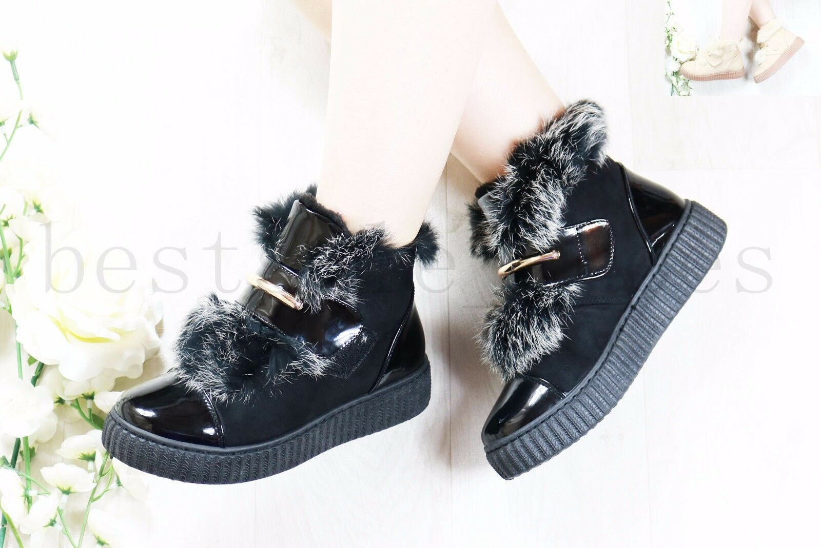 LADIES WOMENS ANKLE BOOTS FLAT CHUNKY PLATFORM FUR LINED TRAINNERS SHOES SIZE