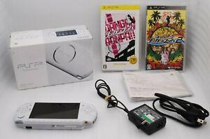 Near-Mint-Sony-PSP-3000-Console-PEARL-WHITE-w-Box-amp-Dangan-Ronpa-2pcs-Japan