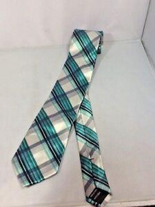 Arrow-Men-039-s-Necktie-Teal-Silver-Gray-Striped-100-Silk