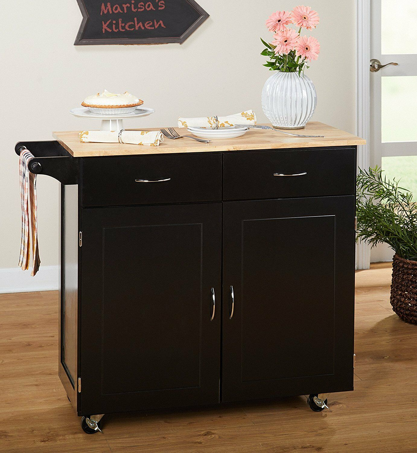 Kitchen Cart With Drawers: Large Kitchen Cart Rolling Island Black With Wood Top 2