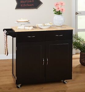 Details about Large Kitchen Cart Rolling Island Black With Wood Top 2 Doors  2 Drawers Shelves
