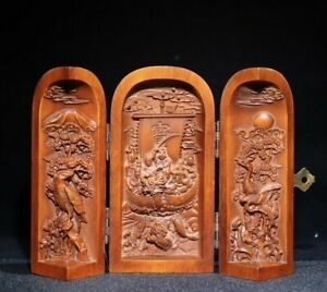 noble fengshui table decor boxwood carved Fish crane lucky statue Extension box