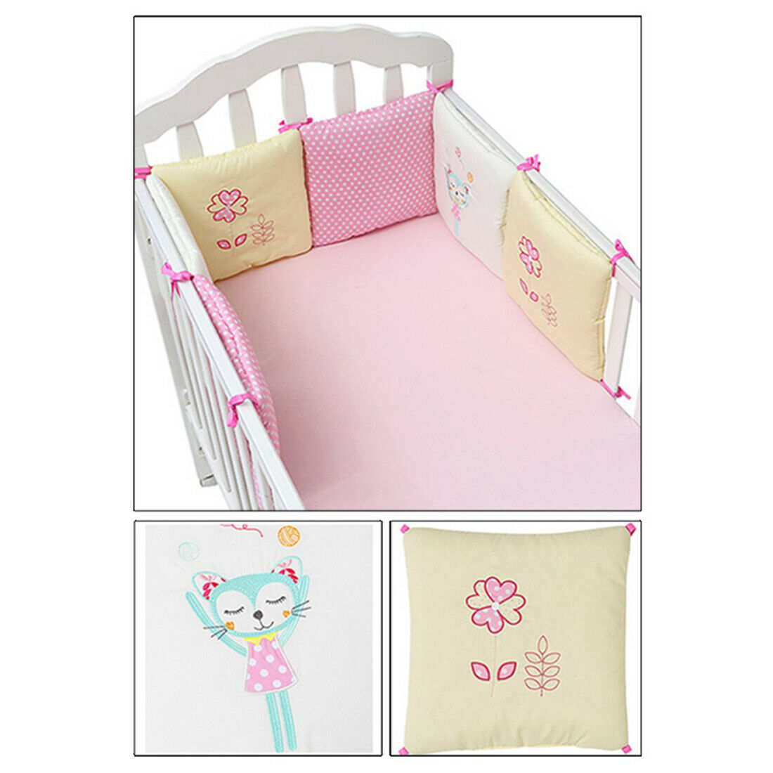 HengST 6pcs Baby Cot Bumper Crib Bumper with Geometric Patterns Baby Head Protection Pads Protector Cushions Star and Wave