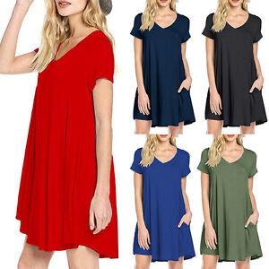 LC-femme-decontracte-ROBE-SIMPLE-ete-en-vrac-V-Neck-T-Shirt-Robe-avec-poches-C