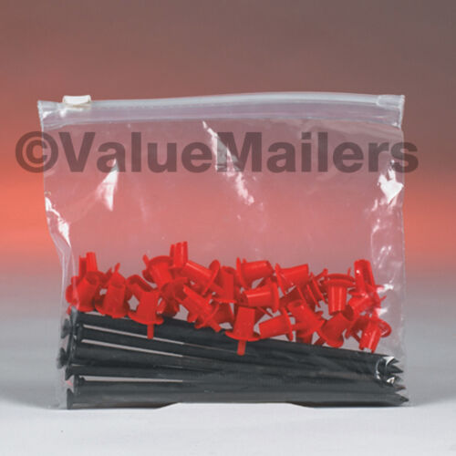Seal Zipper Poly Locking Reclosable Bags 3 MiL 100 8x6 Clear Plastic Slide