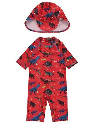 Boys Red Dinosaur Sun Protection UV40 Swimsuit and Hat Sunsafe Surfsuit NEW BNWT