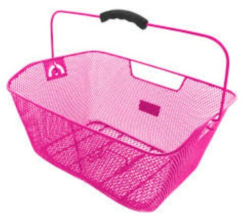 Pink Bicycle Wire Mesh Basket Fits On To Front Or Rear Carrier Shopping Luggage