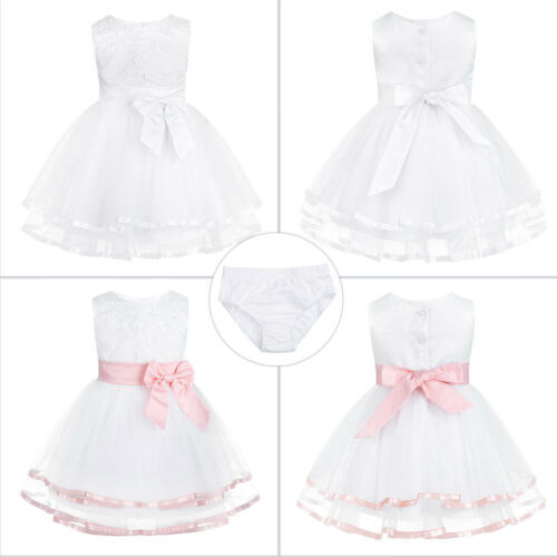 Bloomers Flower Girl Bow Tutu Dress Toddler Baby Princess Party Wedding Gown