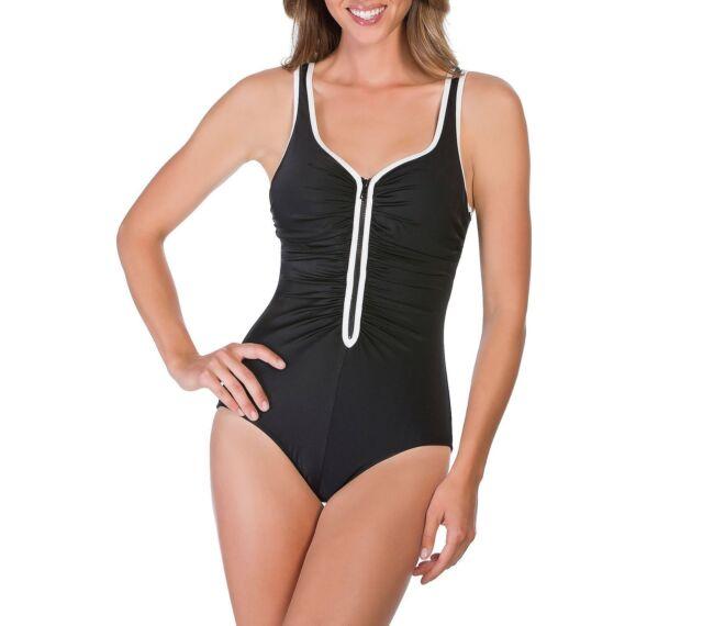 14260b63 NWT Womens Black Reebok Zig Zag V Neck One Piece Tummy Control Swimsuit  Size 16
