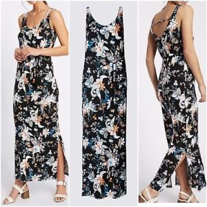 NEW-Ex-M-amp-S-Floral-Print-Maxi-Dress-BLACK-Summer-Holiday-Dress-Size-6-22