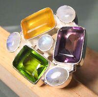 925 Silver Sale 16gr Moonstone/cut Quartz Ring Uk M½/us 6.5-6.75