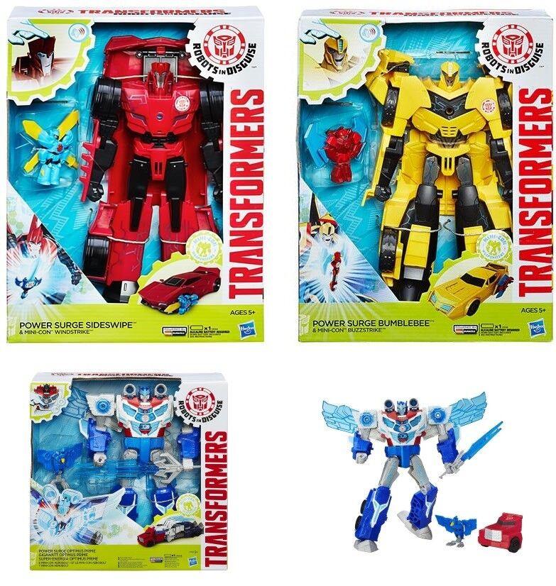 Transformers Power Surge- Optimus Prime Bumble Bumble Bumble Bee Sideswipe Windstrike figures 64e1b0