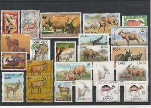 Sammlung-Huftiere-275-Werte-Antilopen-Gazellen-Moschustiere-u-a-FG2238