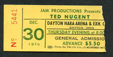 Original 1976 Ted Nugent concert ticket stub Dayton OH Free For All