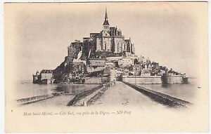 MONT-SAINT-MICHEL-Cote-Sud-vue-prise-de-la-Digue-c1910s-era-postcard