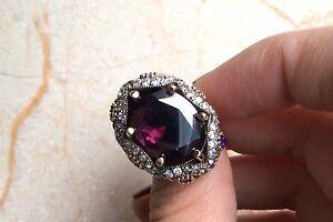 925-Sterling-Silver-Handmade-Antique-Turkish-Amethyst-Ladies-Ring-Size-8