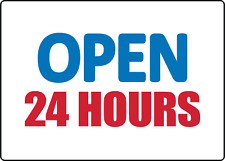 Open 24 Hours Retail Storefront Window Adhesive Vinyl Sign Decal