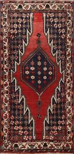 Vintage Hamedan Tribal Hand-knotted Geometric Area Rug Wool Oriental Carpet 4x7