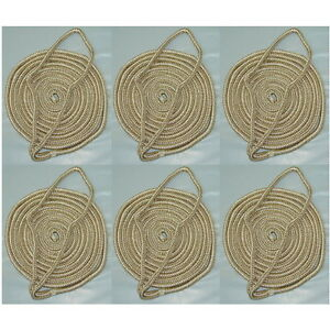 6 Pack of 3/8 Inch x 6 Ft Gold & White Double Braid Nylon Fender Lines for Boats