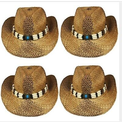 detailed images reasonably priced quality design 12PCS COWBOY HAT Western STRAW Cowgirl BROWN Rodeo MEN CAP WOMEN ...